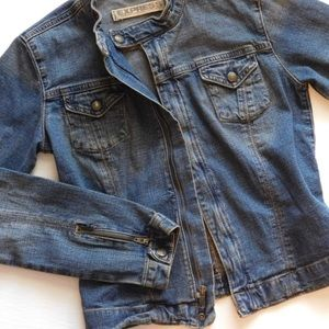 EXPRESS DENIM JACKET Zip Front Mandarin Collar